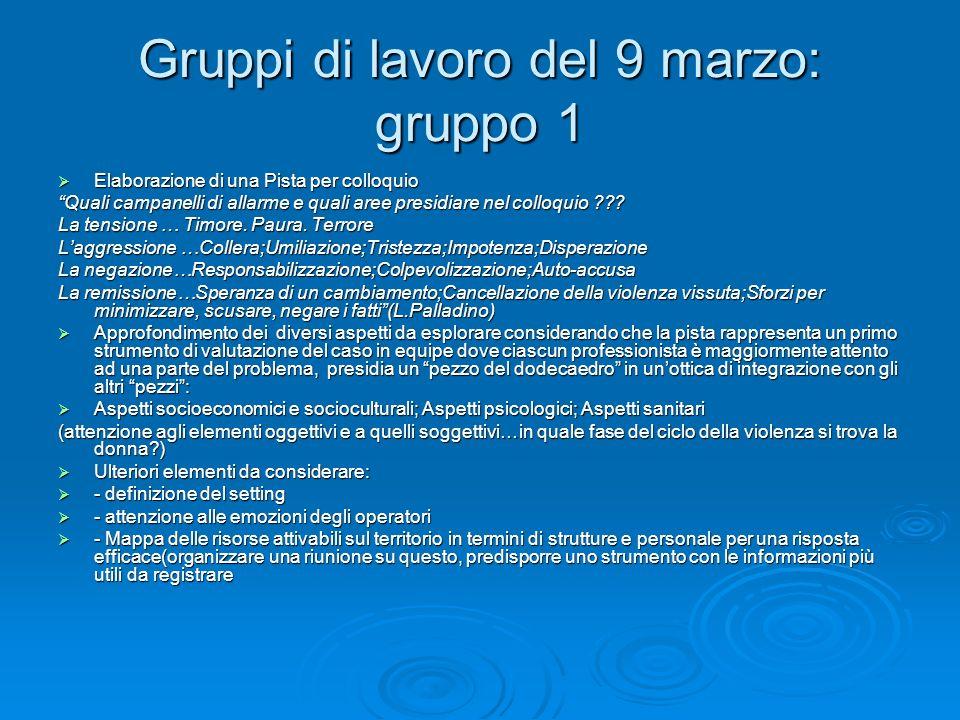 Gruppi di lavoro del 9 marzo: gruppo 1 Elaborazione di una Pista per colloquio Elaborazione di una Pista per colloquio Quali campanelli di allarme e q