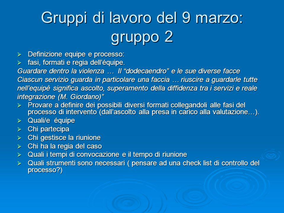 Gruppi di lavoro del 9 marzo: gruppo 2 Definizione equipe e processo: Definizione equipe e processo: fasi, formati e regia delléquipe. fasi, formati e