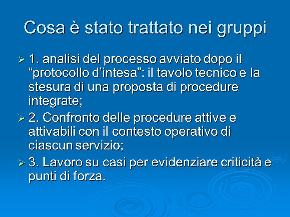 Cosa è stato trattato nei gruppi 1. analisi del processo avviato dopo il protocollo dintesa: il tavolo tecnico e la stesura di una proposta di procedu