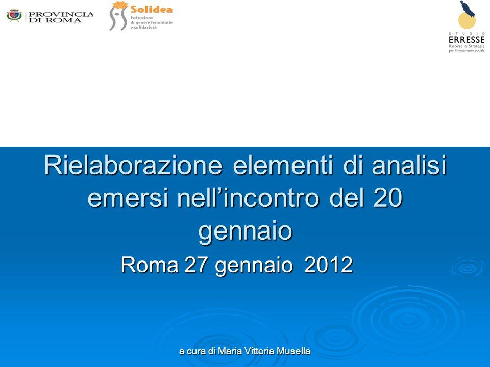a cura di Maria Vittoria Musella Rielaborazione elementi di analisi emersi nellincontro del 20 gennaio Roma 27 gennaio 2012
