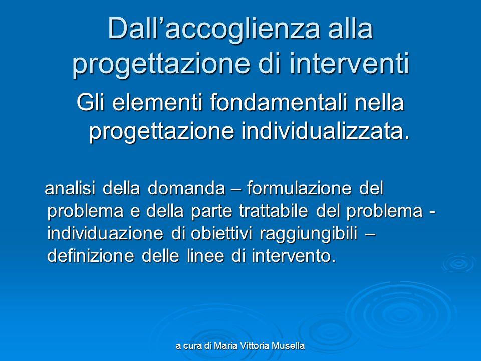 a cura di Maria Vittoria Musella Dallaccoglienza alla progettazione di interventi Gli elementi fondamentali nella progettazione individualizzata.