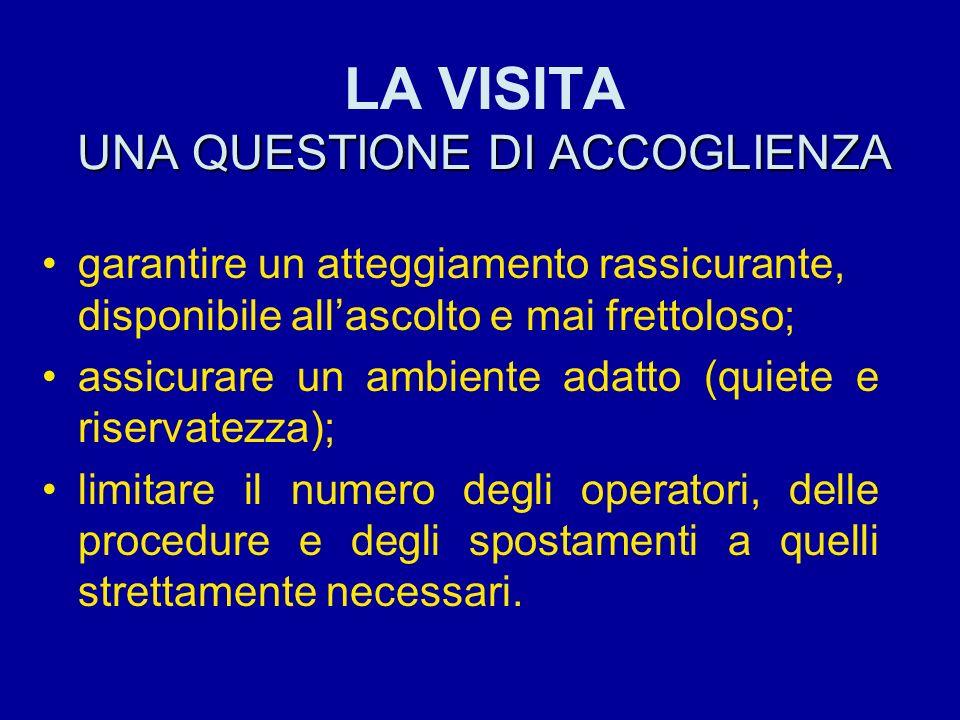 UNA QUESTIONE DI ACCOGLIENZA LA VISITA UNA QUESTIONE DI ACCOGLIENZA garantire un atteggiamento rassicurante, disponibile allascolto e mai frettoloso;