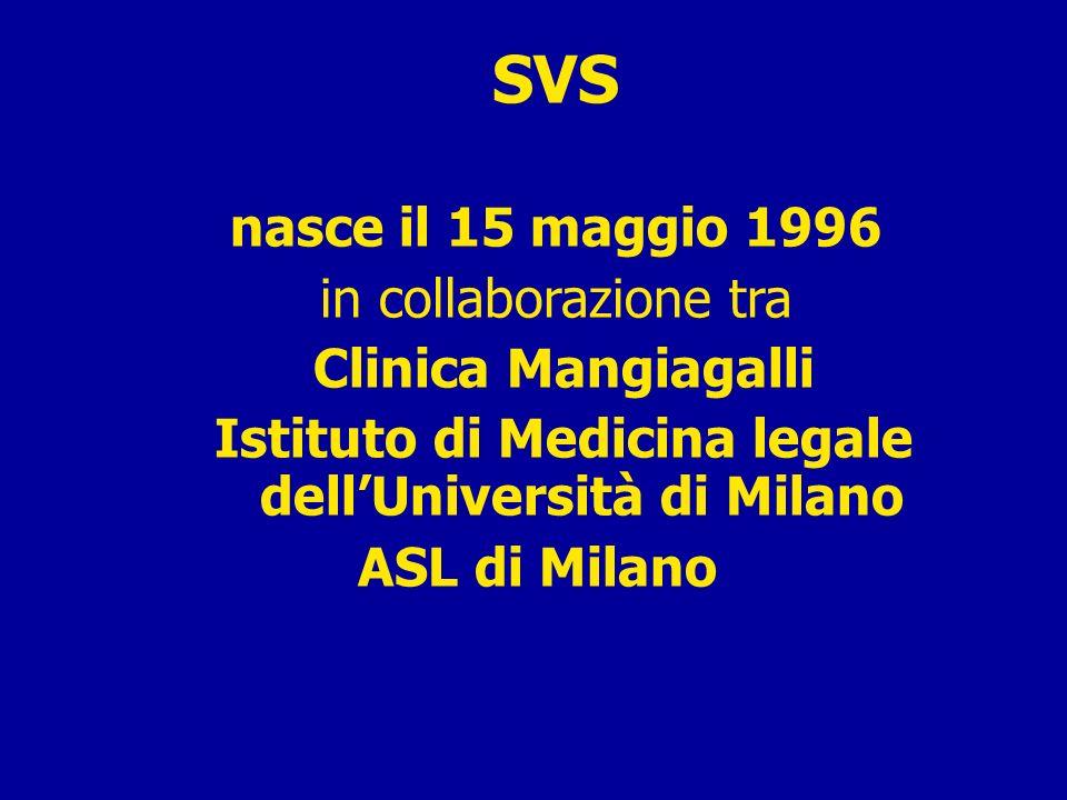 SVS nasce il 15 maggio 1996 in collaborazione tra Clinica Mangiagalli Istituto di Medicina legale dellUniversità di Milano ASL di Milano