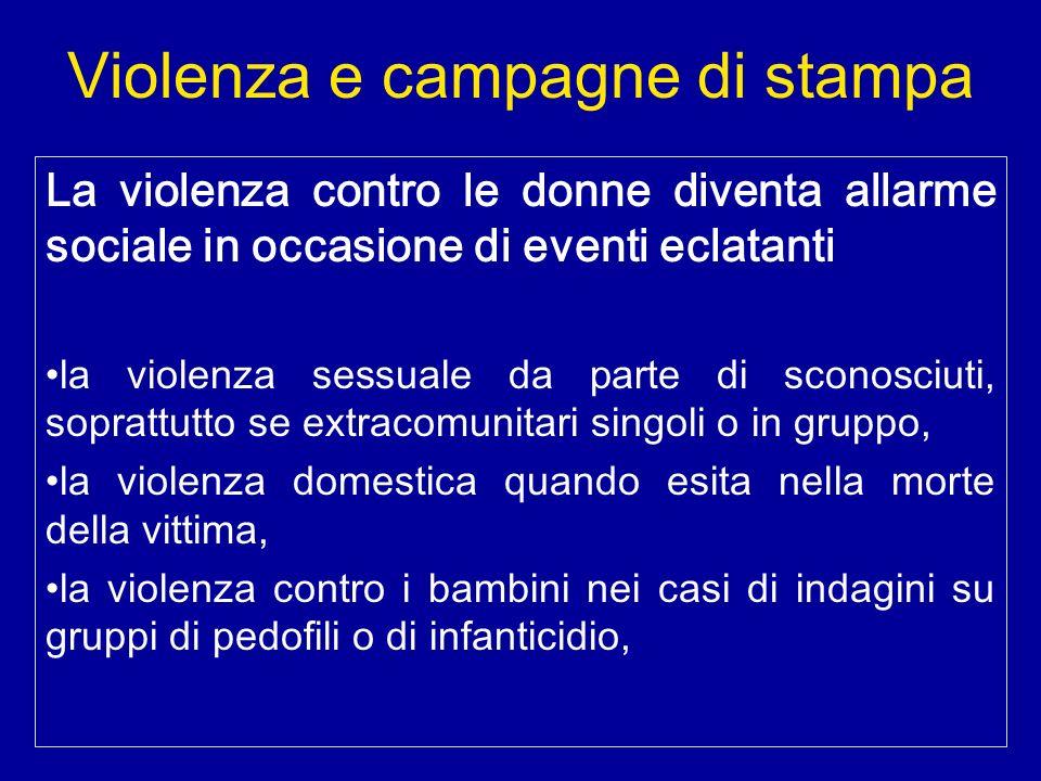 Violenza e campagne di stampa La violenza contro le donne diventa allarme sociale in occasione di eventi eclatanti la violenza sessuale da parte di sc