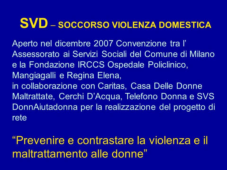 SVD – SOCCORSO VIOLENZA DOMESTICA Aperto nel dicembre 2007 Convenzione tra l Assessorato ai Servizi Sociali del Comune di Milano e la Fondazione IRCCS