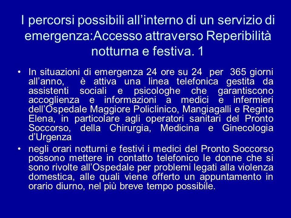 I percorsi possibili allinterno di un servizio di emergenza:Accesso attraverso Reperibilità notturna e festiva.