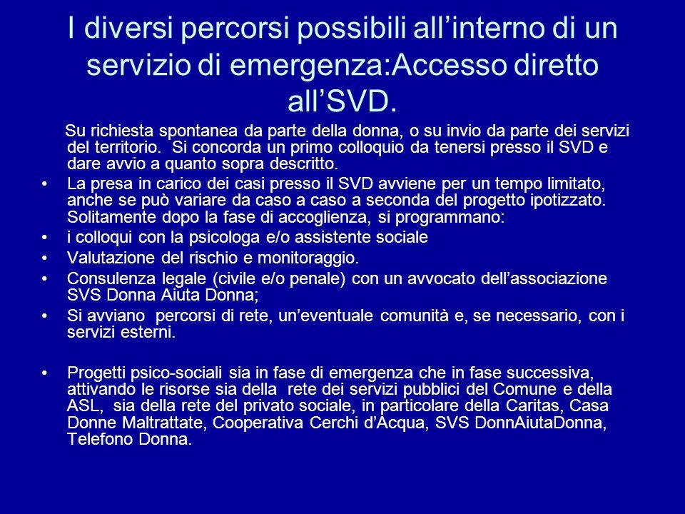 I diversi percorsi possibili allinterno di un servizio di emergenza:Accesso diretto allSVD.