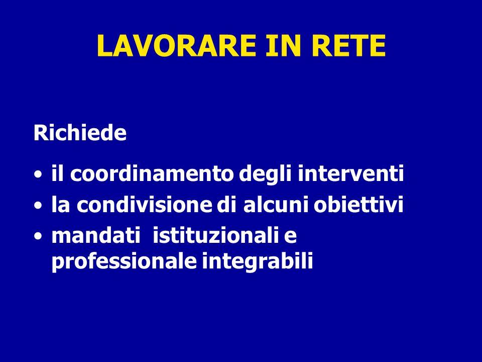 LAVORARE IN RETE Richiede il coordinamento degli interventi la condivisione di alcuni obiettivi mandati istituzionali e professionale integrabili