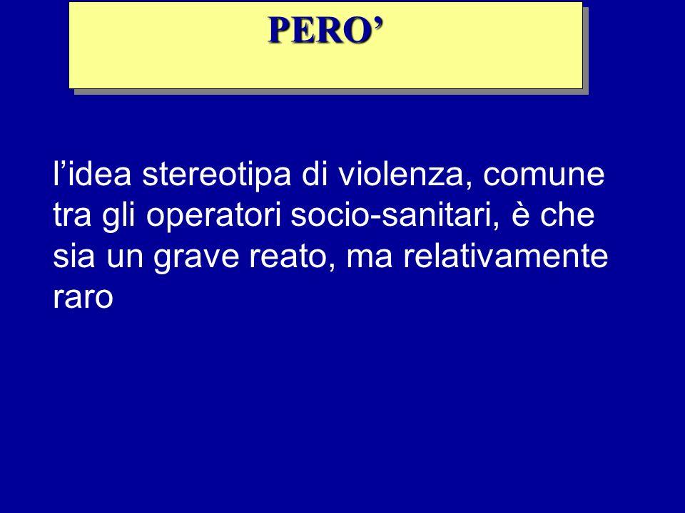 lidea stereotipa di violenza, comune tra gli operatori socio-sanitari, è che sia un grave reato, ma relativamente raro PEROPERO
