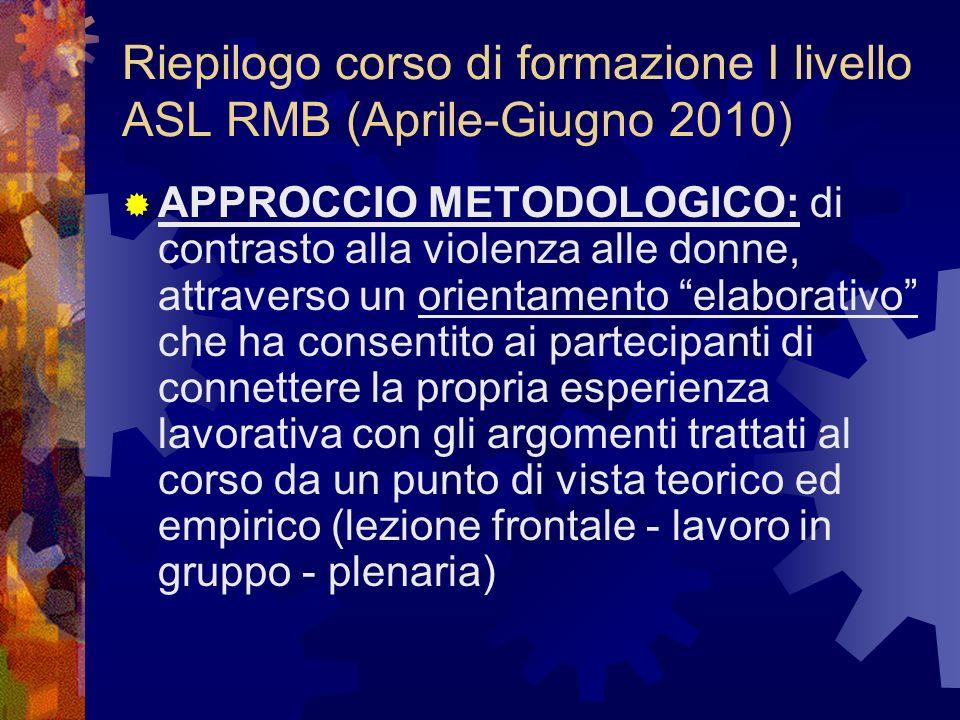Riepilogo corso di formazione I livello ASL RMB (Aprile-Giugno 2010) APPROCCIO METODOLOGICO: di contrasto alla violenza alle donne, attraverso un orie
