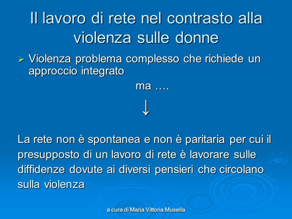 a cura di Maria Vittoria Musella Il lavoro di rete nel contrasto alla violenza sulle donne Violenza problema complesso che richiede un approccio integrato Violenza problema complesso che richiede un approccio integrato ma ….