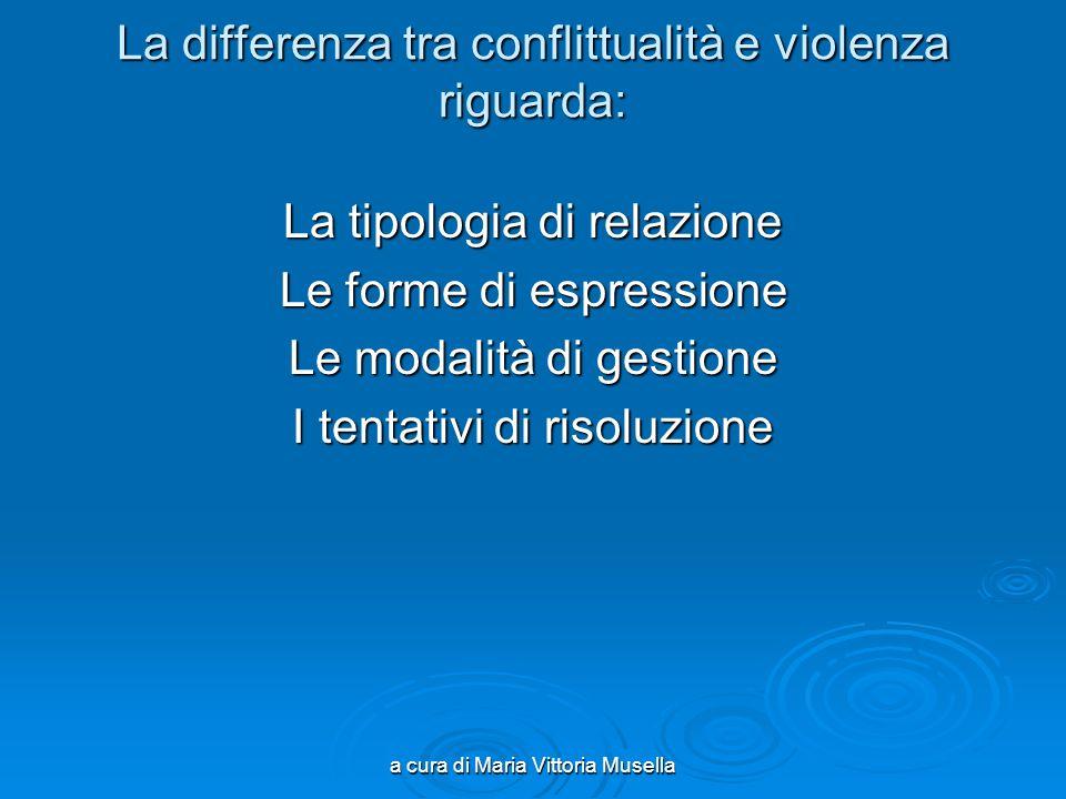 a cura di Maria Vittoria Musella La differenza tra conflittualità e violenza riguarda: La tipologia di relazione Le forme di espressione Le modalità di gestione I tentativi di risoluzione