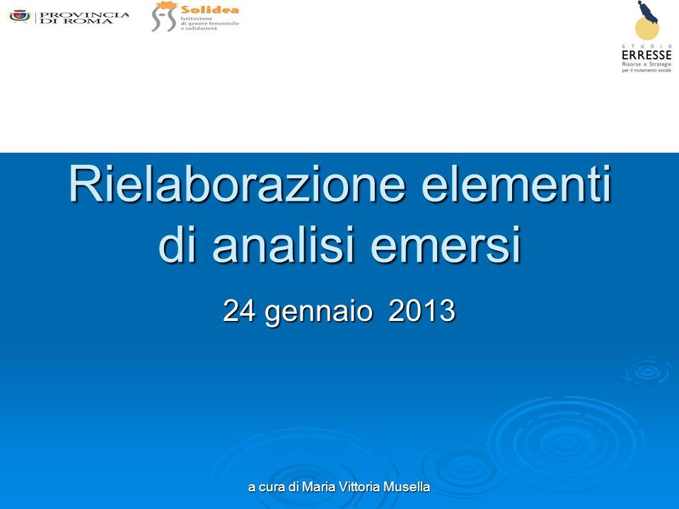 a cura di Maria Vittoria Musella Rielaborazione elementi di analisi emersi 24 gennaio 2013