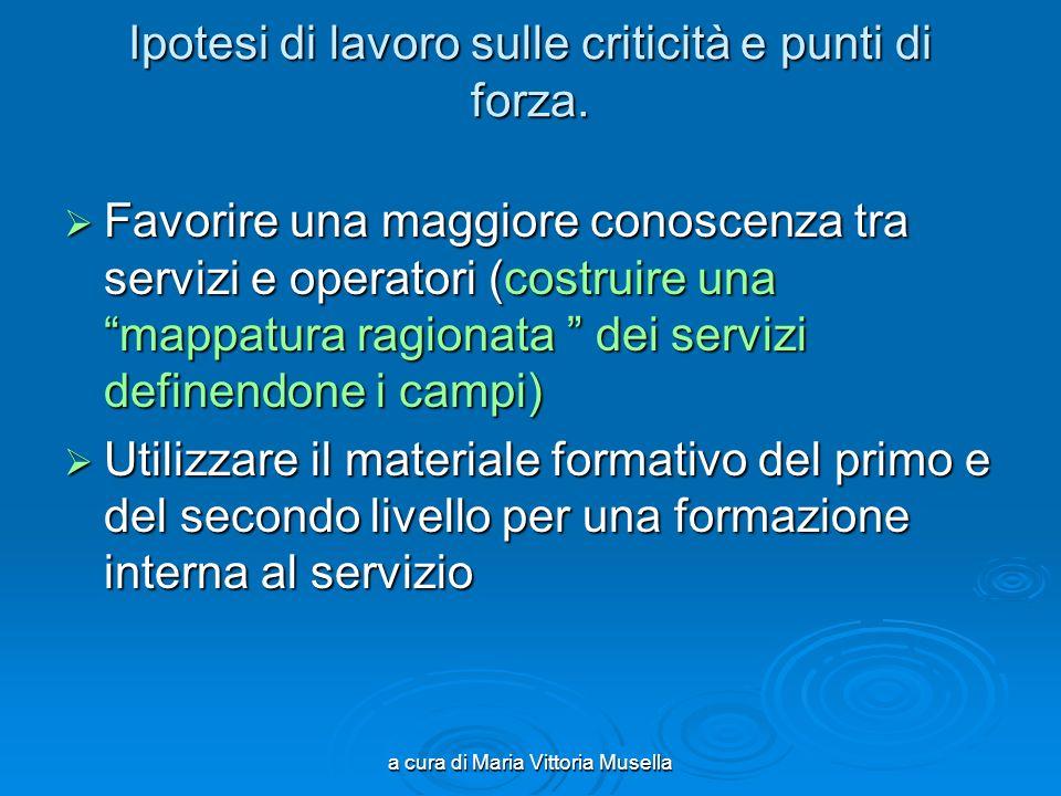 a cura di Maria Vittoria Musella Ipotesi di lavoro sulle criticità e punti di forza.