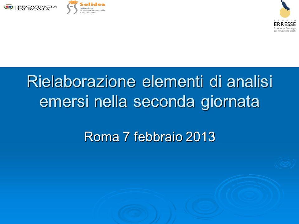 Rielaborazione elementi di analisi emersi nella seconda giornata Roma 7 febbraio 2013
