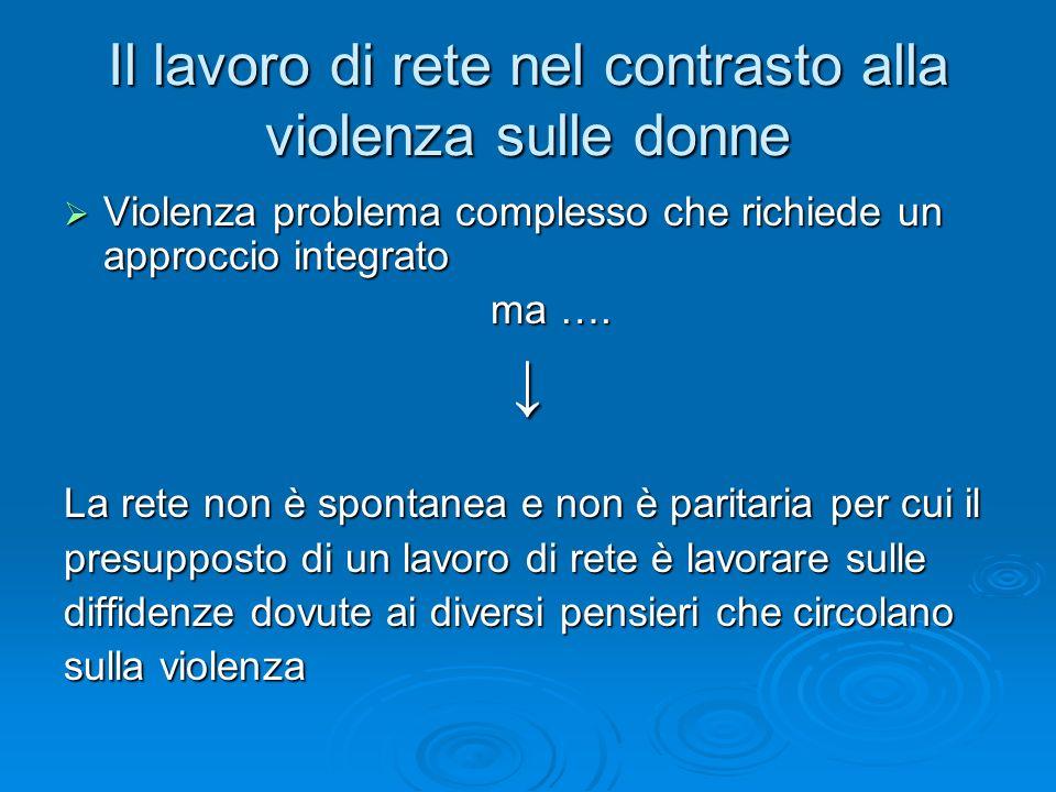 Il lavoro di rete nel contrasto alla violenza sulle donne Violenza problema complesso che richiede un approccio integrato Violenza problema complesso che richiede un approccio integrato ma ….