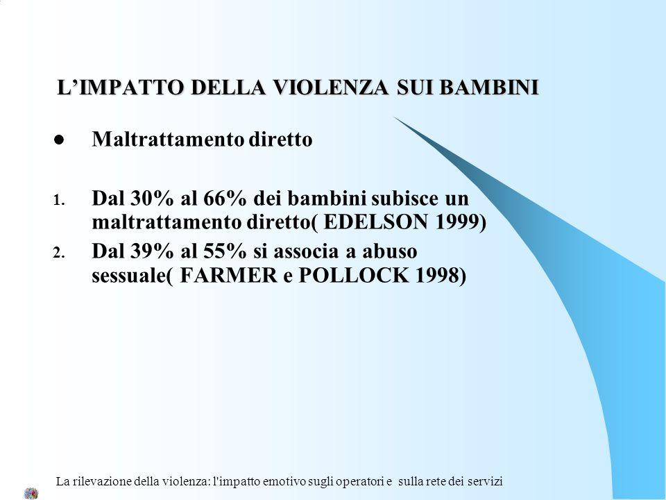 La rilevazione della violenza: l'impatto emotivo sugli operatori e sulla rete dei servizi LIMPATTO DELLA VIOLENZA SUI BAMBINI Maltrattamento diretto 1