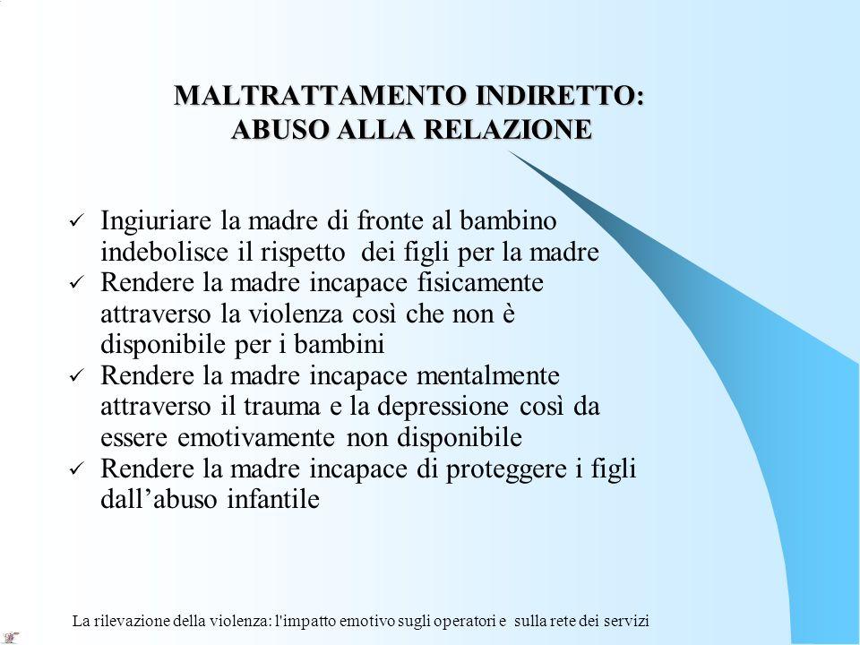 La rilevazione della violenza: l'impatto emotivo sugli operatori e sulla rete dei servizi MALTRATTAMENTO INDIRETTO: ABUSO ALLA RELAZIONE MALTRATTAMENT