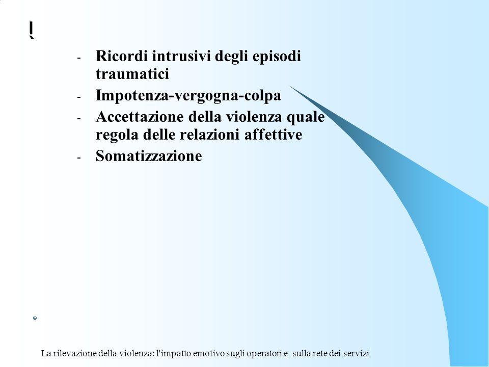 La rilevazione della violenza: l'impatto emotivo sugli operatori e sulla rete dei servizi ì - Ricordi intrusivi degli episodi traumatici - Impotenza-v