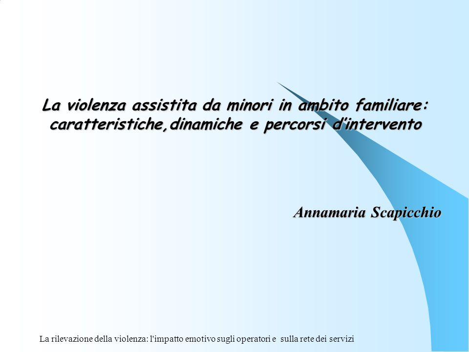 La violenza assistita da minori in ambito familiare: caratteristiche,dinamiche e percorsi dintervento Annamaria Scapicchio Annamaria Scapicchio