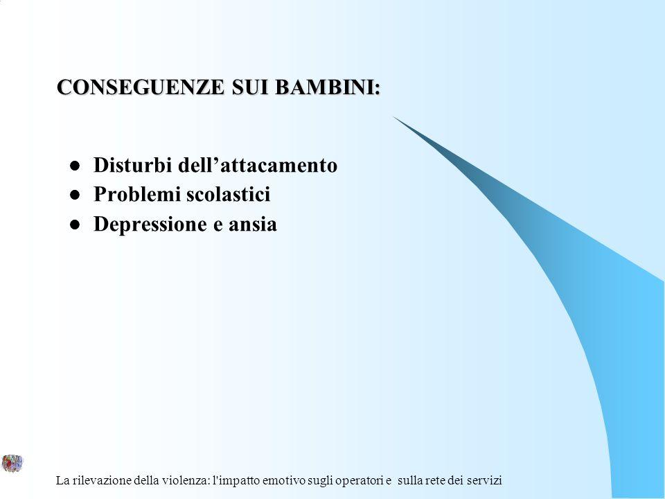 La rilevazione della violenza: l'impatto emotivo sugli operatori e sulla rete dei servizi CONSEGUENZE SUI BAMBINI: Disturbi dellattacamento Problemi s