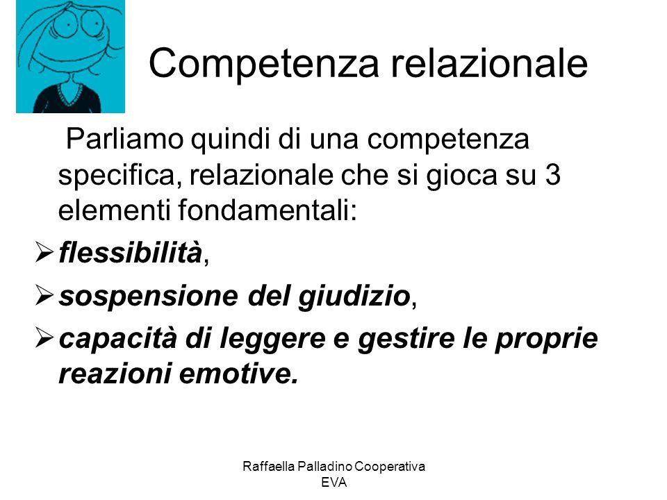 Competenza relazionale Parliamo quindi di una competenza specifica, relazionale che si gioca su 3 elementi fondamentali: flessibilità, sospensione del giudizio, capacità di leggere e gestire le proprie reazioni emotive.
