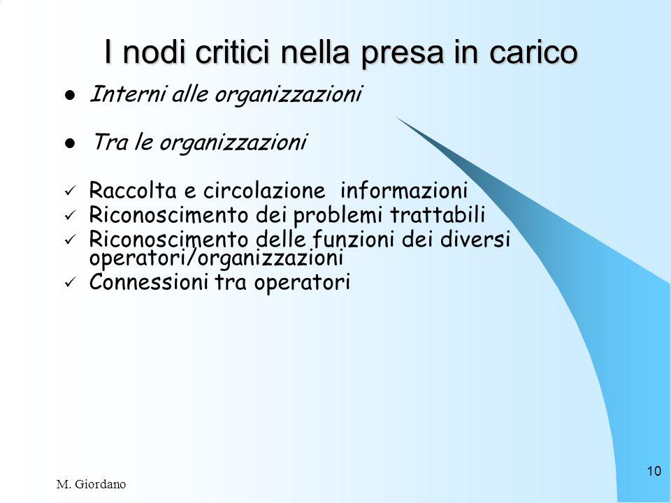 M. Giordano 10 I nodi critici nella presa in carico Interni alle organizzazioni Tra le organizzazioni Raccolta e circolazione informazioni Riconoscime
