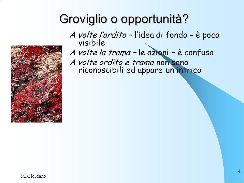 M. Giordano 4 Groviglio o opportunità.