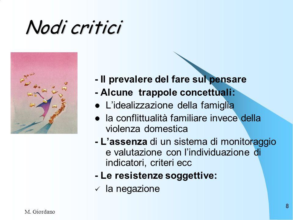 M. Giordano 8 Nodi critici - Il prevalere del fare sul pensare - Alcune trappole concettuali: Lidealizzazione della famiglia la conflittualità familia