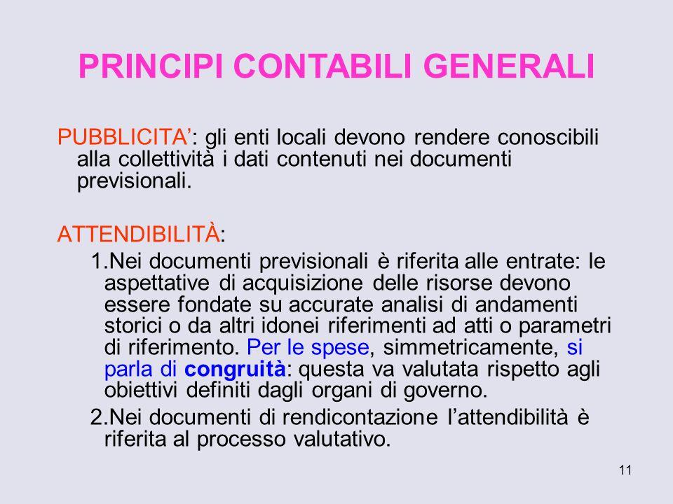 11 PUBBLICITA: gli enti locali devono rendere conoscibili alla collettività i dati contenuti nei documenti previsionali. ATTENDIBILITÀ: 1.Nei document