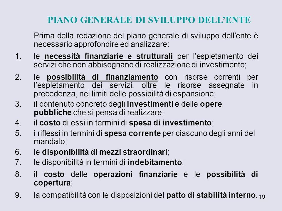 19 Prima della redazione del piano generale di sviluppo dellente è necessario approfondire ed analizzare: 1.le necessità finanziarie e strutturali per