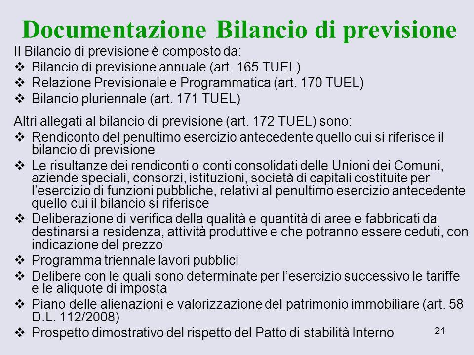 21 Il Bilancio di previsione è composto da: Bilancio di previsione annuale (art. 165 TUEL) Relazione Previsionale e Programmatica (art. 170 TUEL) Bila