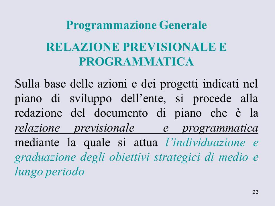 23 Programmazione Generale RELAZIONE PREVISIONALE E PROGRAMMATICA Sulla base delle azioni e dei progetti indicati nel piano di sviluppo dellente, si p
