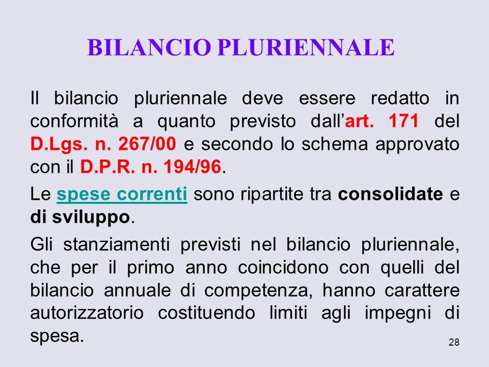 28 Il bilancio pluriennale deve essere redatto in conformità a quanto previsto dallart. 171 del D.Lgs. n. 267/00 e secondo lo schema approvato con il