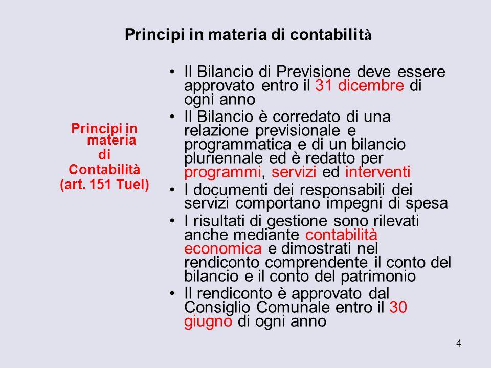4 Principi in materia di contabilit à Principi in materia di Contabilità (art. 151 Tuel) Il Bilancio di Previsione deve essere approvato entro il 31 d