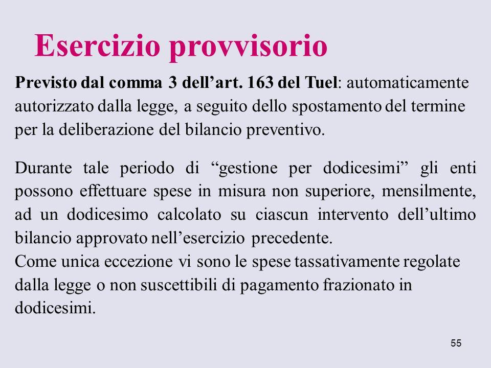 55 Previsto dal comma 3 dellart. 163 del Tuel: automaticamente autorizzato dalla legge, a seguito dello spostamento del termine per la deliberazione d