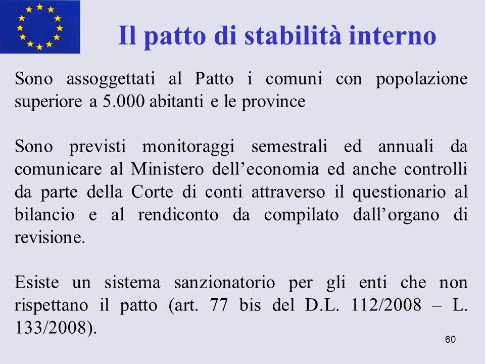 60 Il patto di stabilità interno Sono assoggettati al Patto i comuni con popolazione superiore a 5.000 abitanti e le province Sono previsti monitoragg