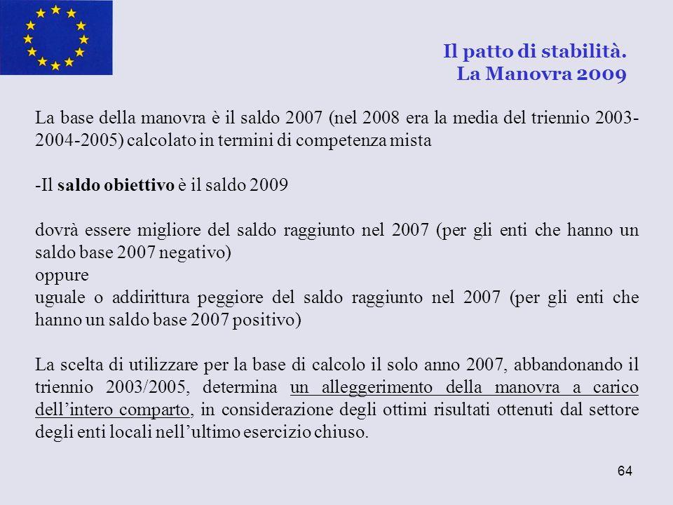 64 La base della manovra è il saldo 2007 (nel 2008 era la media del triennio 2003- 2004-2005) calcolato in termini di competenza mista -Il saldo obiet