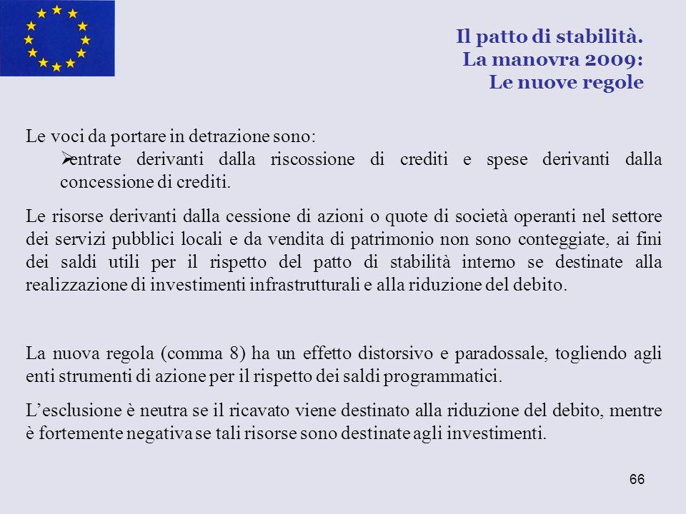 66 Le voci da portare in detrazione sono: entrate derivanti dalla riscossione di crediti e spese derivanti dalla concessione di crediti. Le risorse de