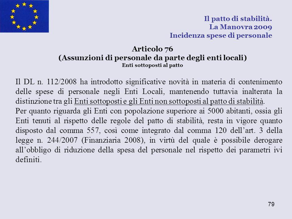 79 Il DL n. 112/2008 ha introdotto significative novità in materia di contenimento delle spese di personale negli Enti Locali, mantenendo tuttavia ina