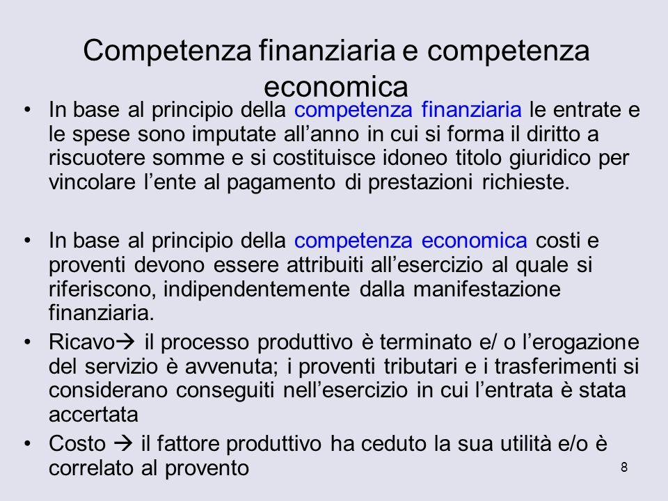 8 Competenza finanziaria e competenza economica In base al principio della competenza finanziaria le entrate e le spese sono imputate allanno in cui s