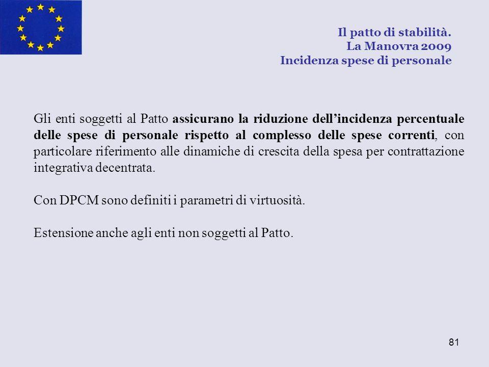 81 Gli enti soggetti al Patto assicurano la riduzione dellincidenza percentuale delle spese di personale rispetto al complesso delle spese correnti, c