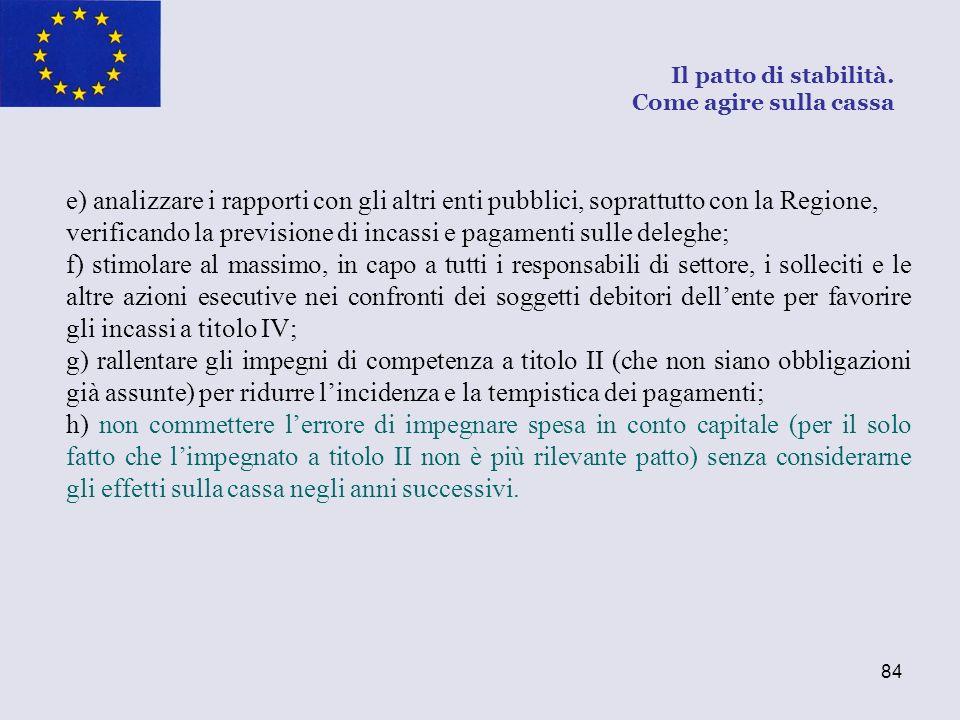 84 e) analizzare i rapporti con gli altri enti pubblici, soprattutto con la Regione, verificando la previsione di incassi e pagamenti sulle deleghe; f