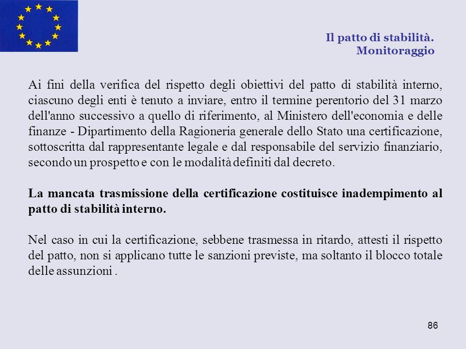86 Ai fini della verifica del rispetto degli obiettivi del patto di stabilità interno, ciascuno degli enti è tenuto a inviare, entro il termine perent