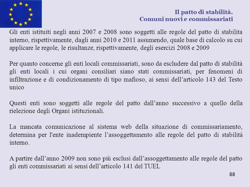 88 Gli enti istituiti negli anni 2007 e 2008 sono soggetti alle regole del patto di stabilita interno, rispettivamente, dagli anni 2010 e 2011 assumen