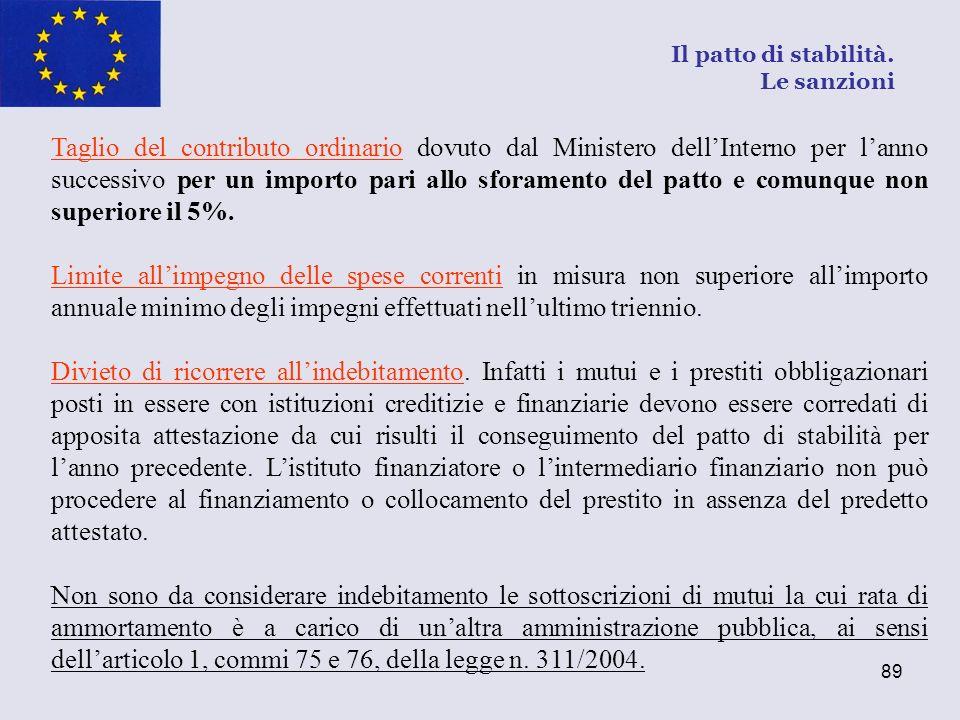 89 Taglio del contributo ordinario dovuto dal Ministero dellInterno per lanno successivo per un importo pari allo sforamento del patto e comunque non