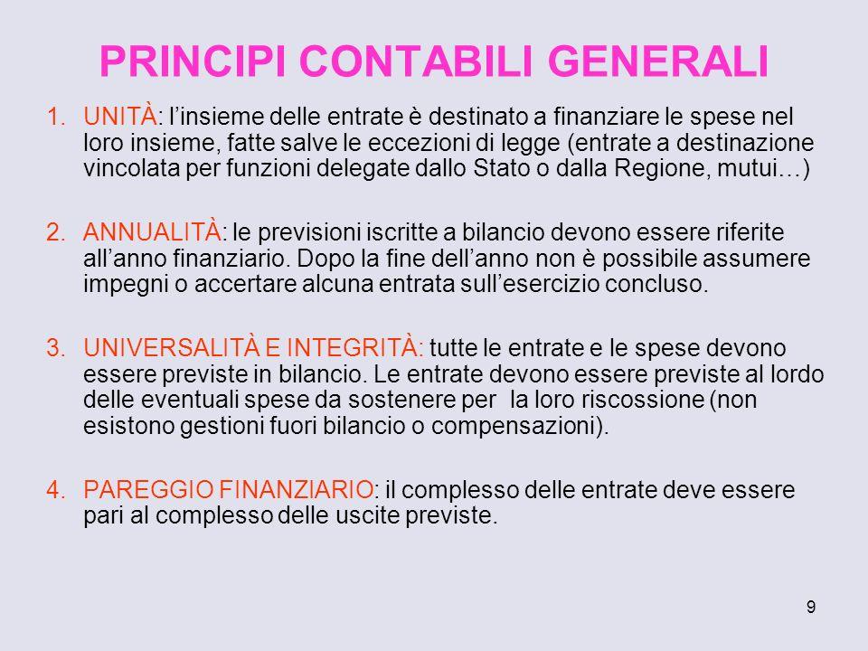 9 PRINCIPI CONTABILI GENERALI 1.UNITÀ: linsieme delle entrate è destinato a finanziare le spese nel loro insieme, fatte salve le eccezioni di legge (e