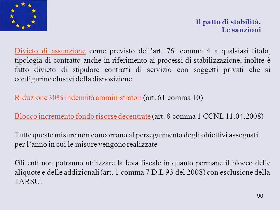 90 Divieto di assunzione come previsto dellart. 76, comma 4 a qualsiasi titolo, tipologia di contratto anche in riferimento ai processi di stabilizzaz