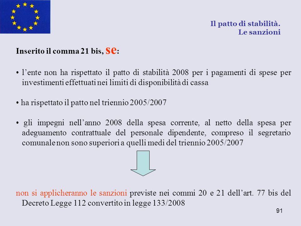 91 Inserito il comma 21 bis, se : lente non ha rispettato il patto di stabilità 2008 per i pagamenti di spese per investimenti effettuati nei limiti d