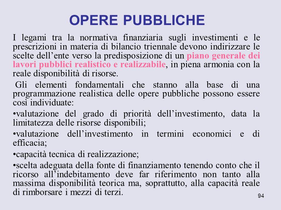94 I legami tra la normativa finanziaria sugli investimenti e le prescrizioni in materia di bilancio triennale devono indirizzare le scelte dellente v